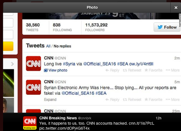 Cnn World News Twitter: CNN's Twitter And Facebook Accounts Hacked