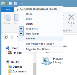 Ribbon UI quick access toolbar dropdown menu