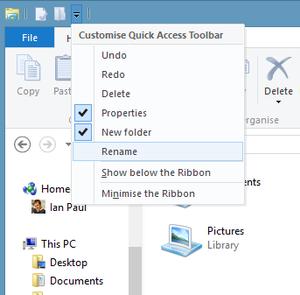 Ribbon UI quick access toolbar dropdown menu