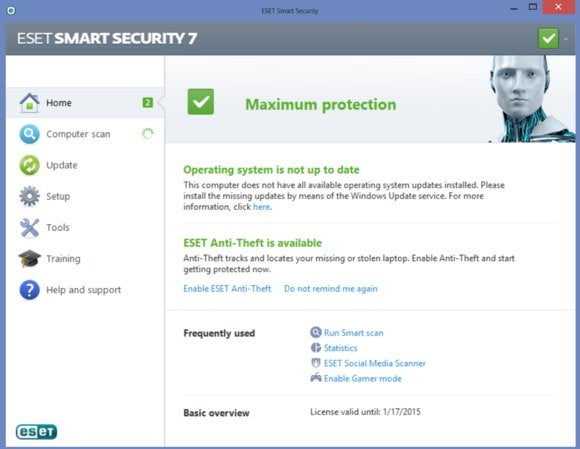 eset main screen