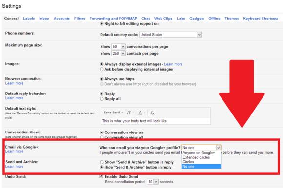 gmail google plus email setting