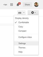 gmail settings cog