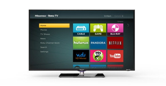 Roku TV home screen on a Hisense TV