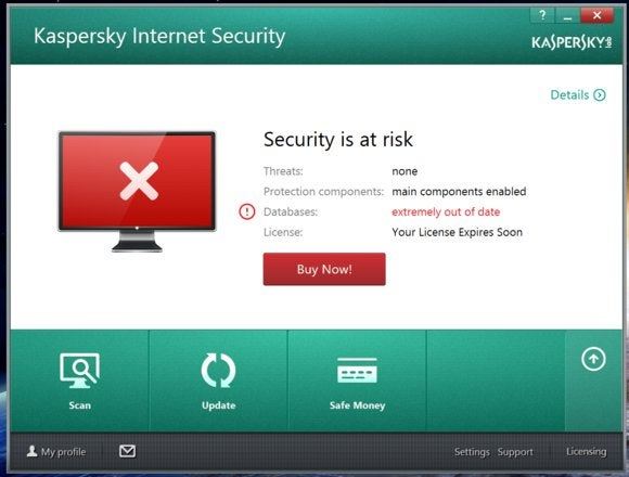 kaspersky main screen