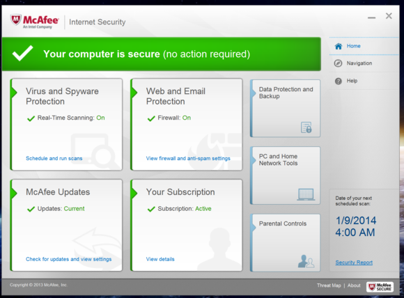 mcafee main screen