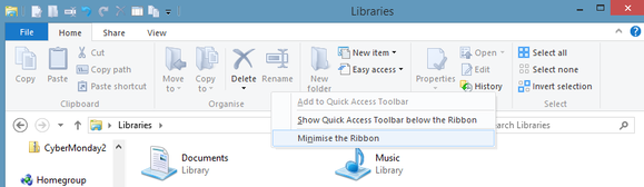 minimize windows 8 ribbon ui