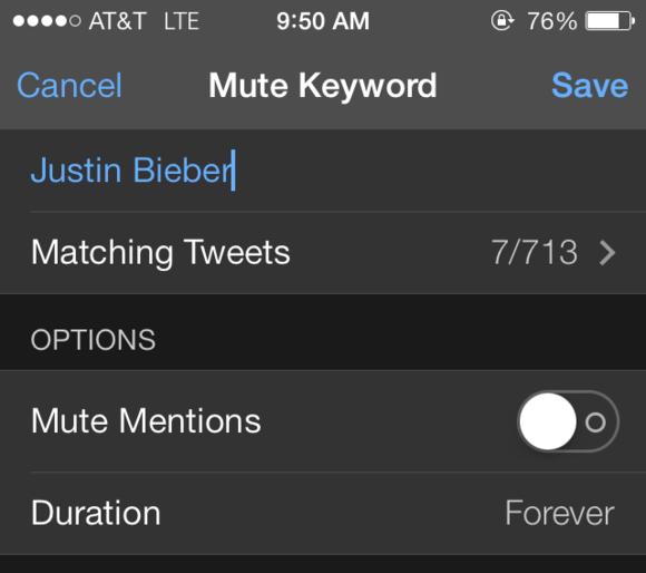 mute bieber tweetbot