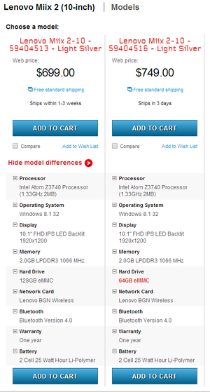 pricing differences miix 2