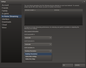 steam in home streaming settings