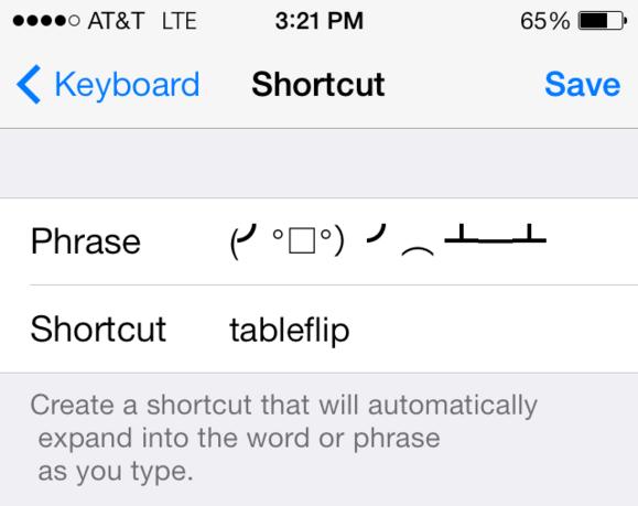 tableflip shortcut