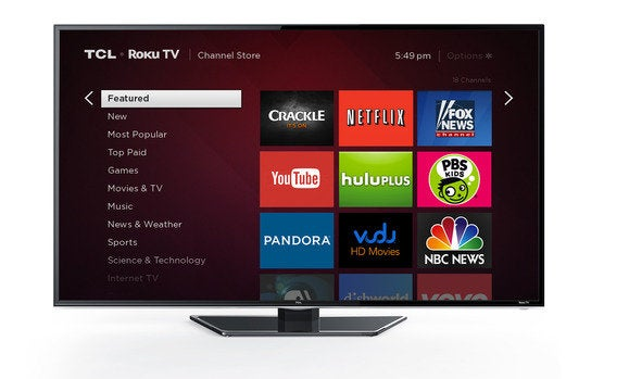 Roku TV channel store on a TCL model