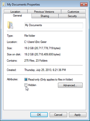 unhidding files