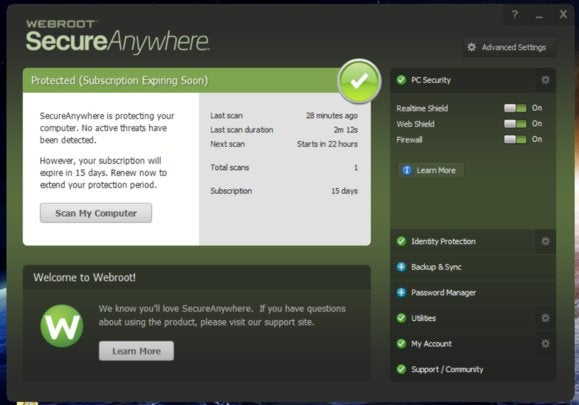 webroot main screen