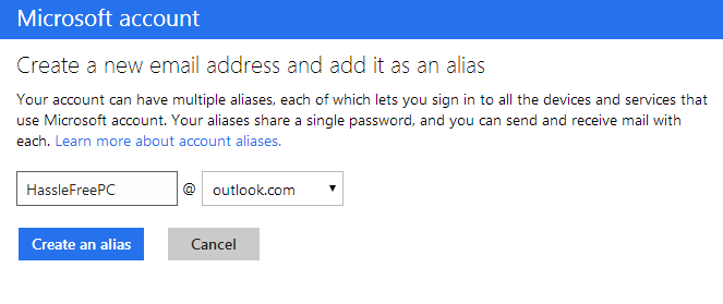 Use Outlook com's aliases to hide your true email address from