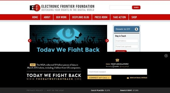 EFF homepage on