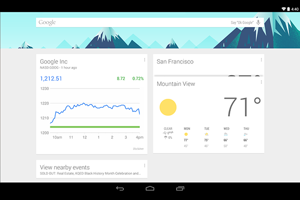 google now launchter tablet