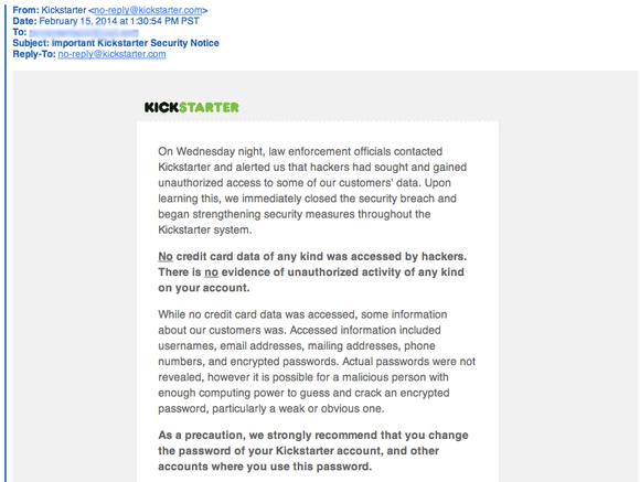 kickstarter email