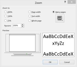 microsoft word zoom menu