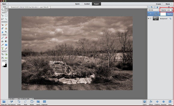 photoshop bw adjust opacity