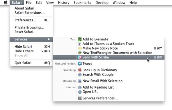 Scribe Mac Services Menu