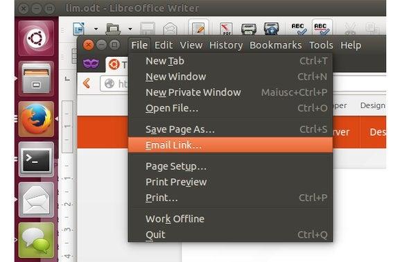 ubuntu menu in app