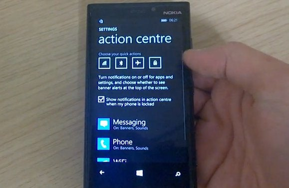 windows phone 8.1 notification center