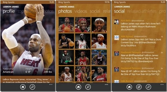 windows phone sports labron james
