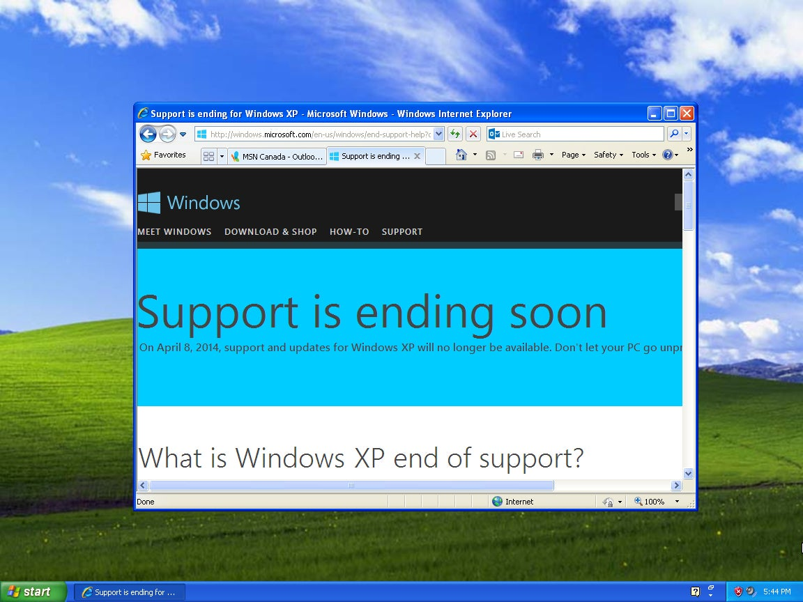When will support of windows xp end force photostream update windows