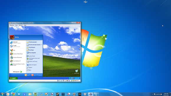 windows xp in virtual machine on windows 7