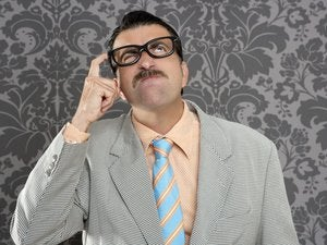 Nerd businessman pensive gesture silly funny retro 123079430