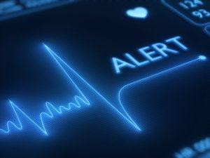Flat line alert on heart monitor    160085472
