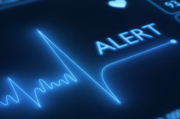 Flat line alert on heart monitor    160085472