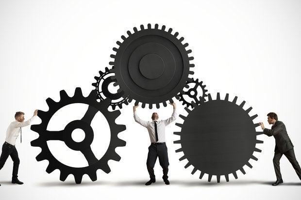 Teamwork gears workers cooperation mechanics process