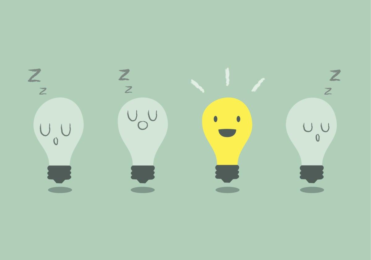 Lightbulb waking up idea breakthrough bright