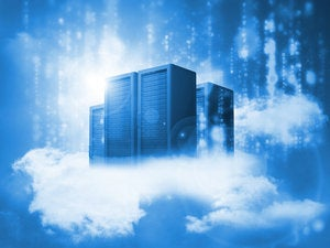 Data Servers resting on clouds in blue 172588046