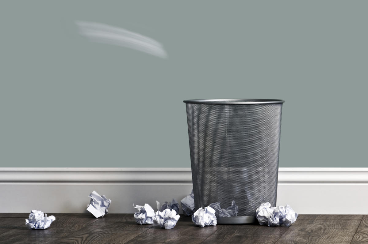 Garbage can paper trash