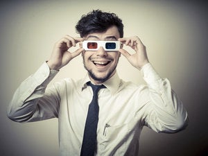 young man with 3-D glasses