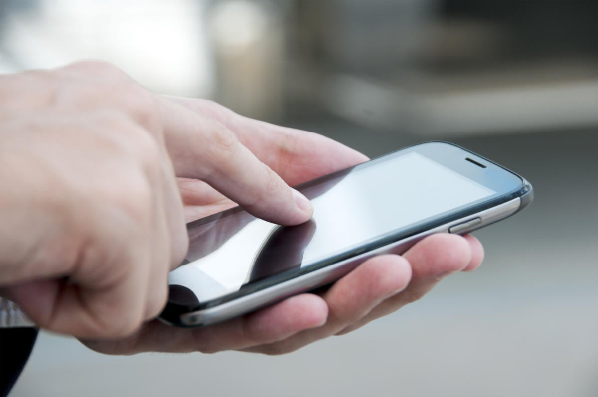 Finger tap smartphone user mobile