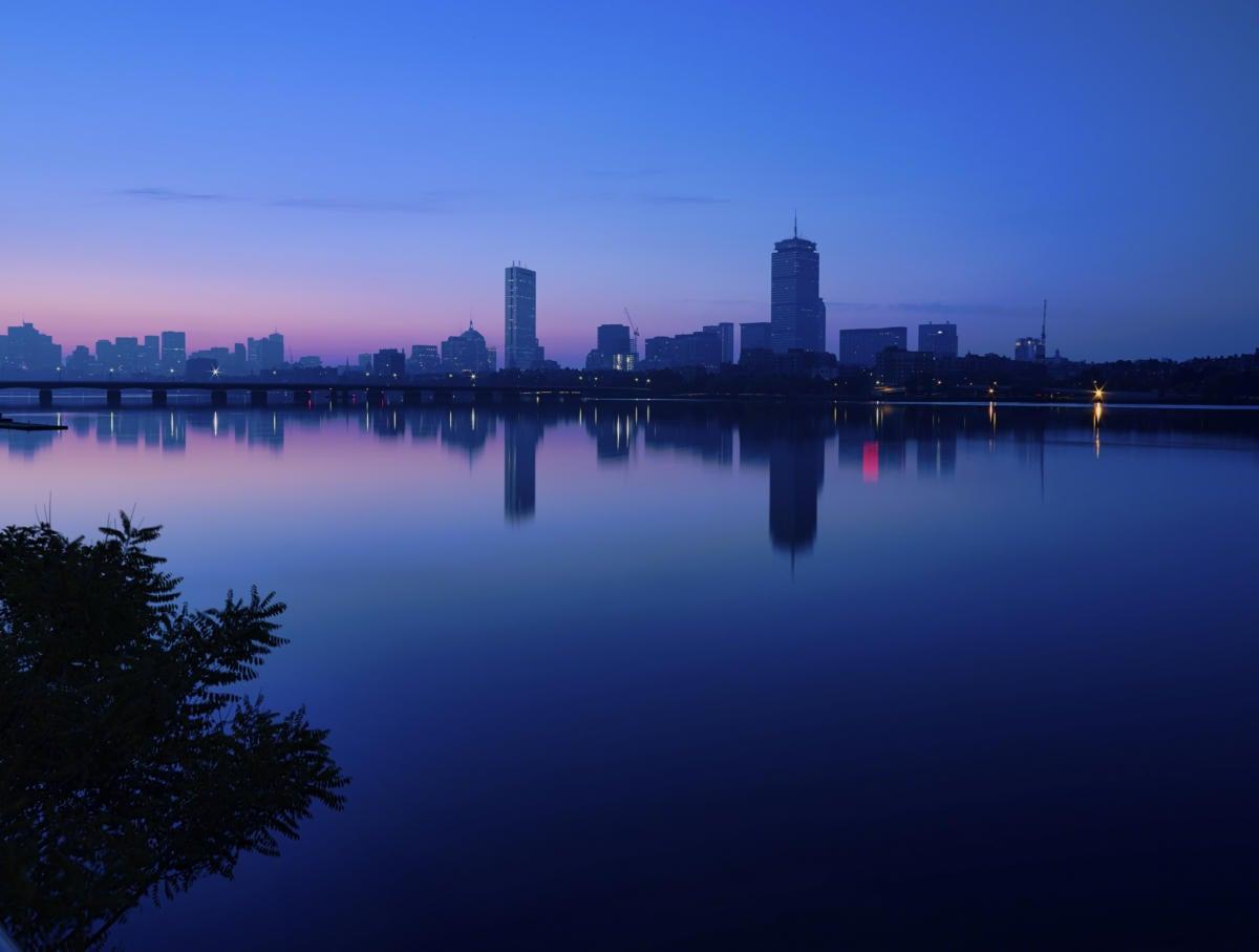 Dawn sky lighting the Boston skyline 181299961
