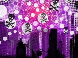 Skull crossbones cityscape