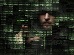 Hacker manipulating code