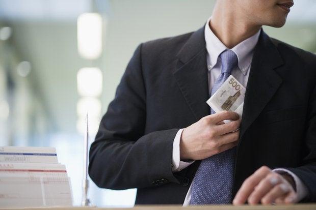 Stealing money greedy businessman