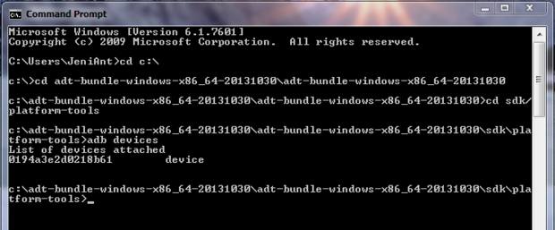 adb device command window