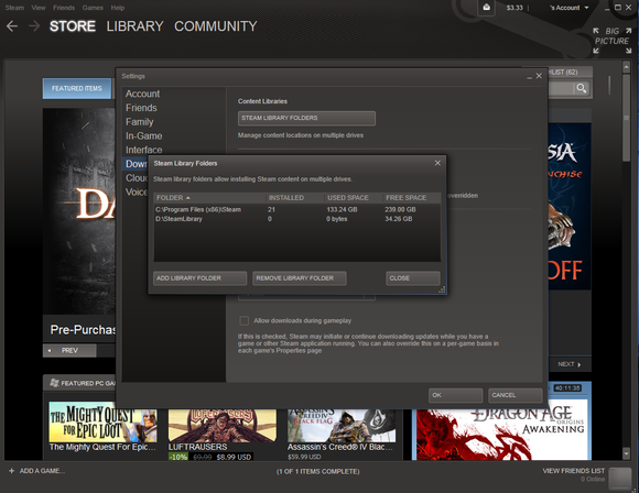 choisissez le dossier de la bibliothèque Steam