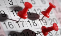 generic calendar pinpoint dates thumbtacks