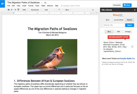 google docs plugin bibliography