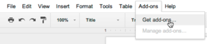 google docs plugin menu