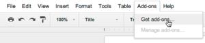 google docs plugin menu