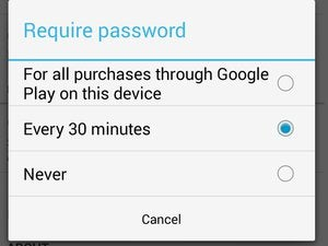 google play app purchase password settings