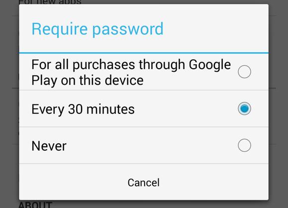 google play app purchase password settings